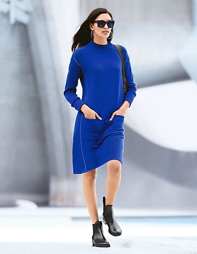 MADELEINE Cachemire Robe en maille femme bleu roi / bleu