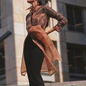 MADELEINE Chemise longue femme nougat / marron