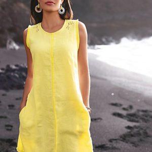 MADELEINE Robe femme citron / jaune