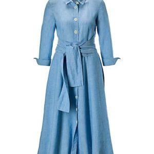 MADELEINE Robe. Pur lin femme bleu glacier / bleu