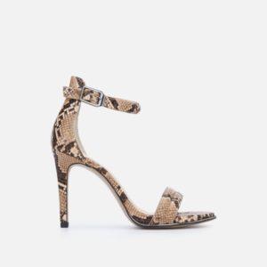 Brooke Snake Print Sandal Heel