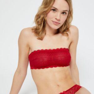 Soutien-gorge bandeau en dentelle - CHERIE CHERIE - S - Rouge - Femme - Etam